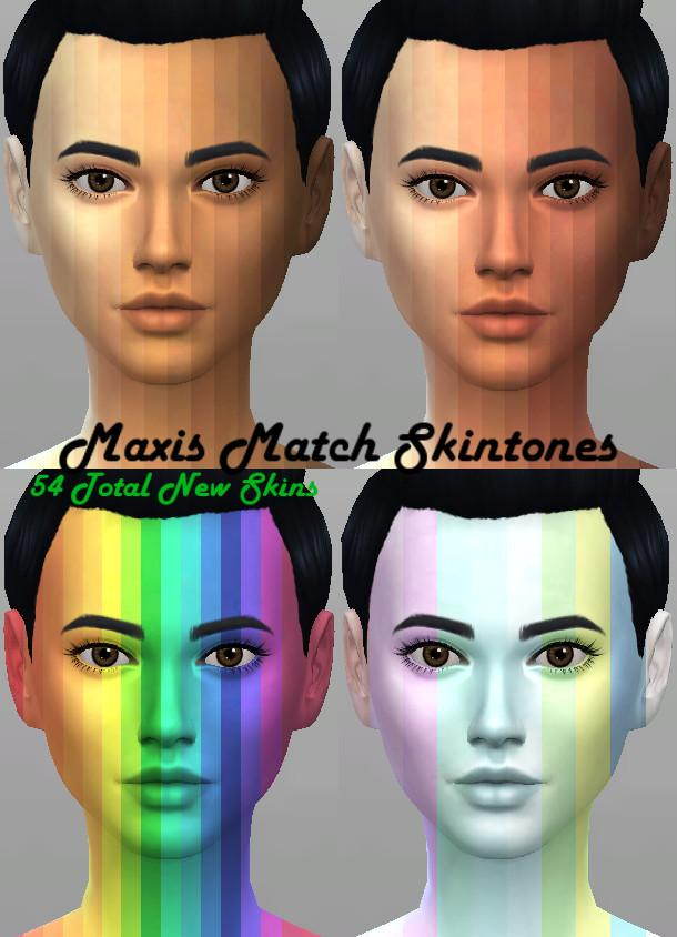 Maxis Match Skintones, 54 new skins for your sims(and 26 for aliens)!