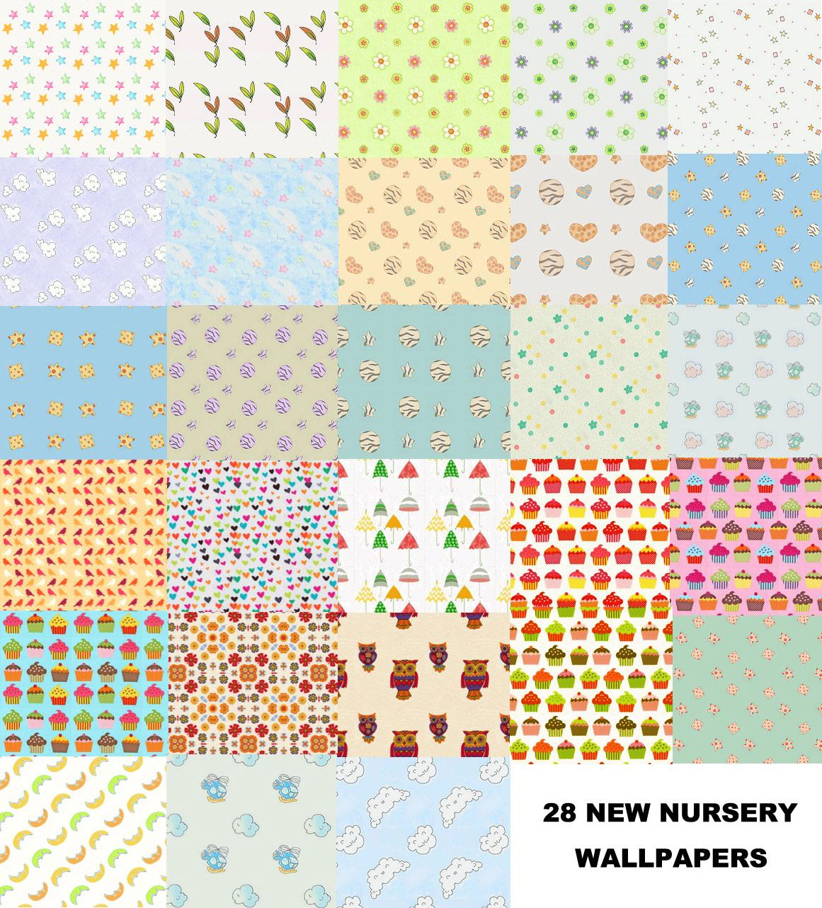 Set of 28 new nursery wallpapers