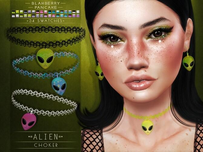 alien chocker and earrings set