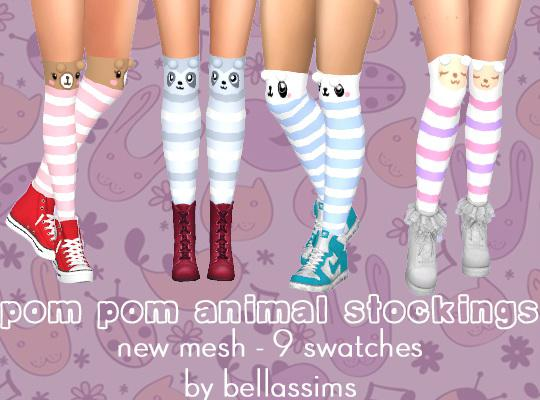 Animal Stockings, Frilly Socks, Hair Bow & Pom Pom Lights