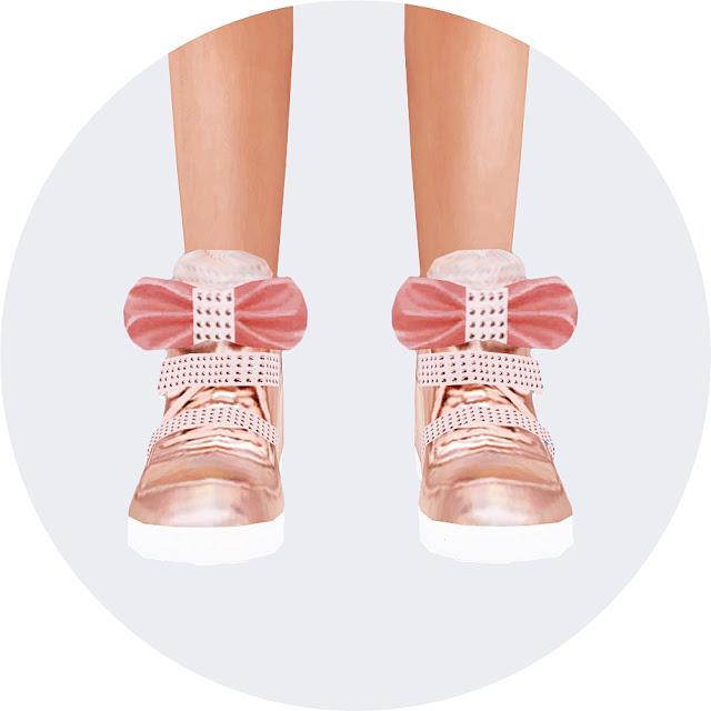 Child bow high top sneakers