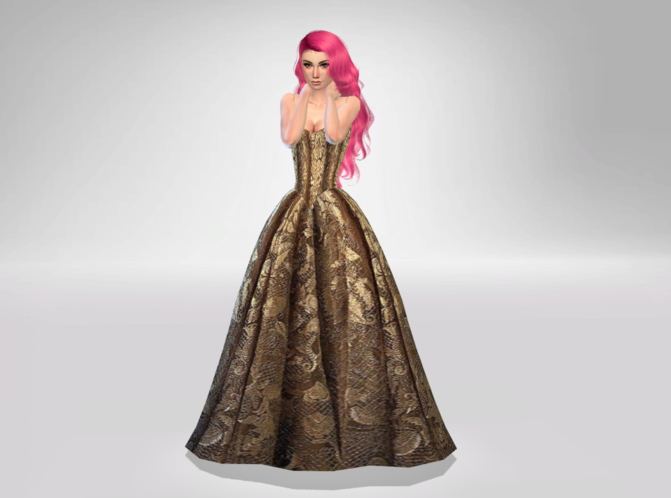 Gold Brocade formal dress-Mesh Needed