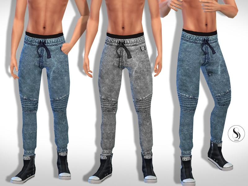 Grunge Sporty Casual Men Jeans