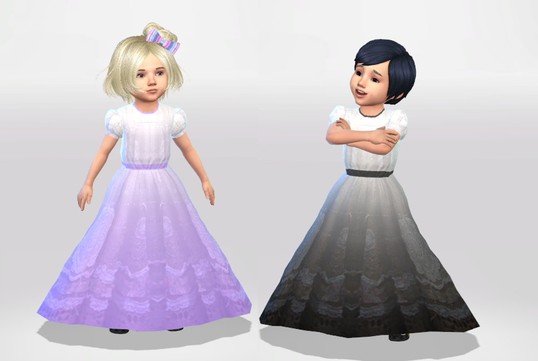 Long Toddler Formal Dress Recolor - Mesh needed