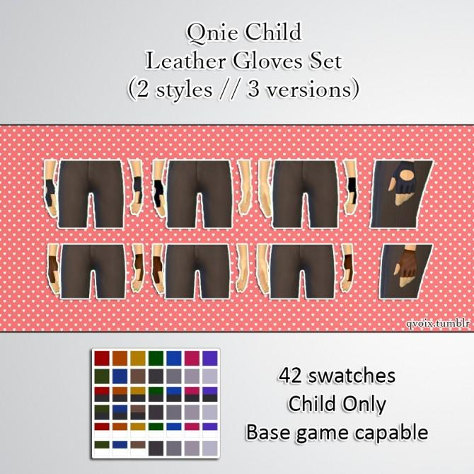 Qnie Child Leather Gloves Set