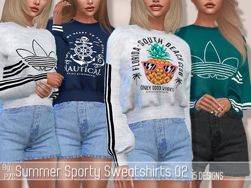 SET-Summer Sporty Sweatshirts 02 and High Waisted Shorts