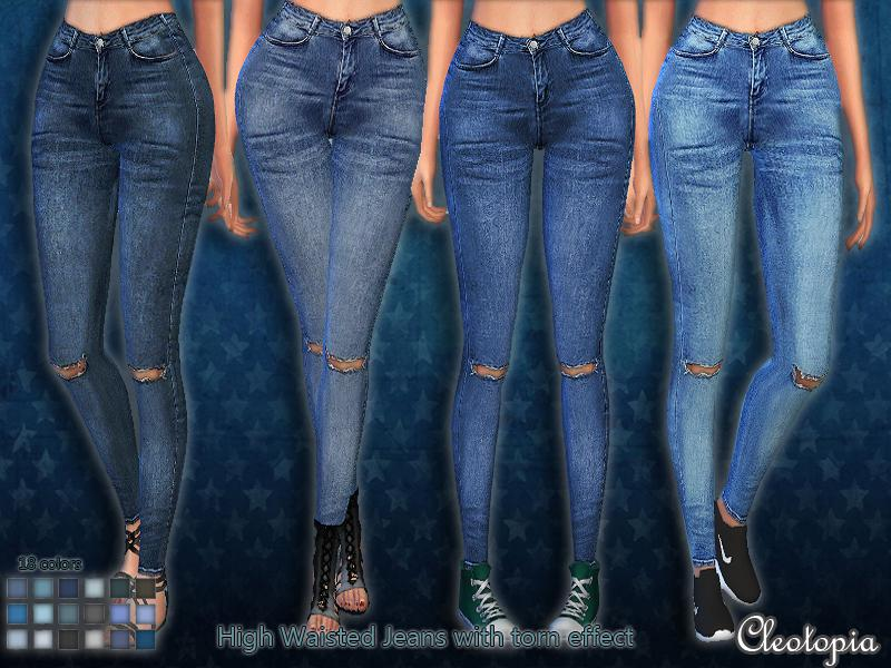 Set45- High Waisted Jeans with torn effect