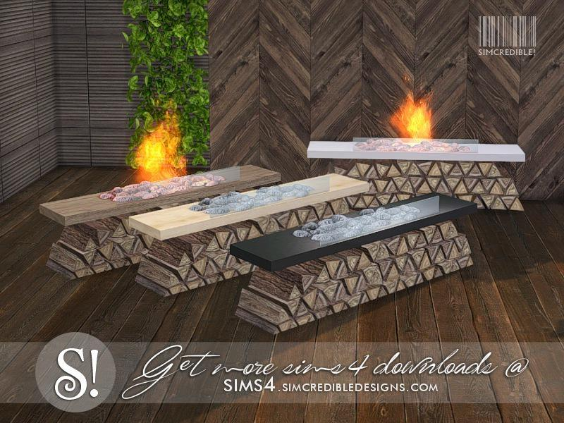 Solatium fireplace with logs