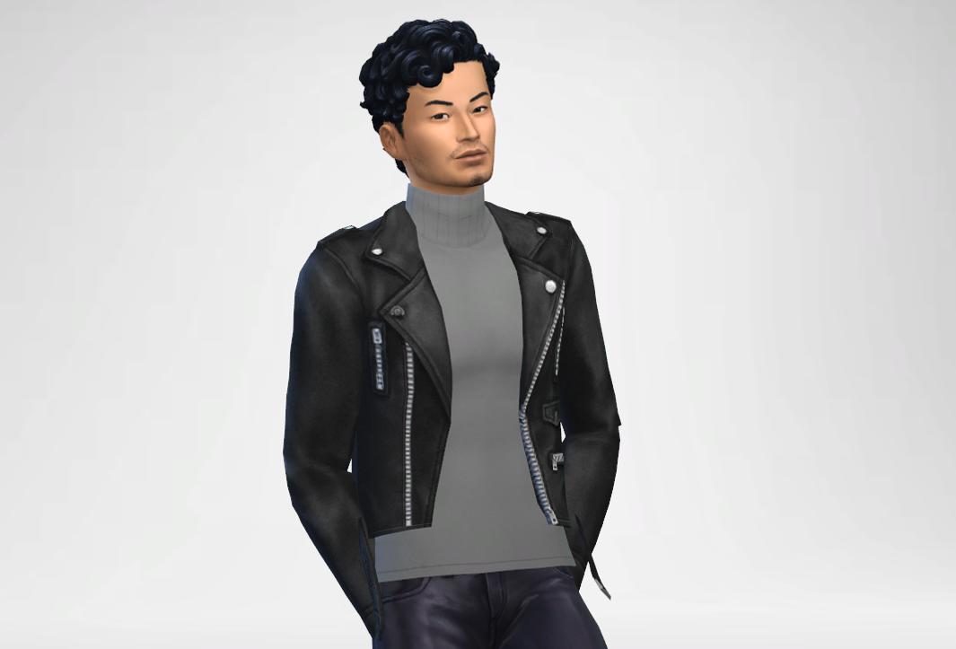 Turtleneck With Biker Leather Jacket
